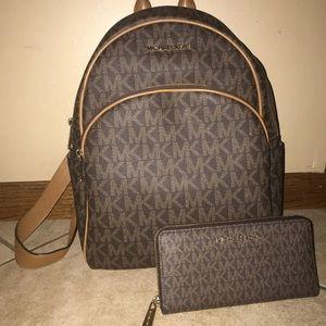 Michael Kors backpack and wallet set